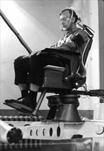Vestibularis test out, soviet cosmonaut a, s, eliseyev undergoing training.