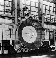 Soviet space probe venera 5 or 6 in the assembly and testing shop prior to it's launch in january of 1969.