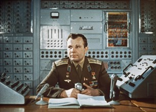 Yuri gagarin during a television broadcast in the early 1960's (after his flight).