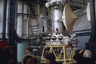A working mock-up of the soviet venera 15 & 16 space probe during tests is on display for the press, 1983.