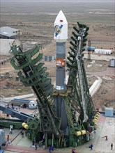 The soyuz-fg carrier rocket carrying the mars-express interplanetary probe was installed at a launch site at baikonur cosmodrome on friday, the european space agency (esa) spacecraft is to be launched...