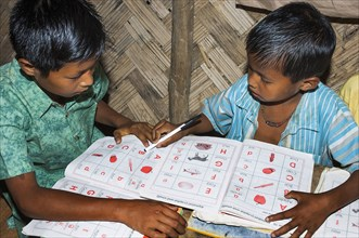 Bangladesh, Chittagong Division, Bandarban, Primary school classroom demonstrating child-centred group based work initiated by an NGO.
