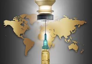 Covid-19 vaccine with world map in background