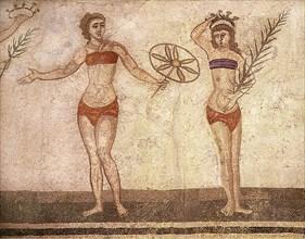 Detail of the Ten Girls Mosaic depicting women athletes