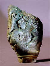 Carved pendant depicting a Copan ruler