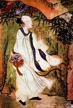 A Taoist Immortal playing a flute in the Tao paradise