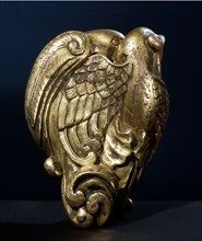 Gilt bronze sleeve weight forming a pair of billing birds