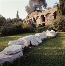 Exterior view of the Baths of Trajan which cover the remains of the Golden House of Nero