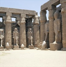View of the triple barque shrine dedicated to the Theban Triad the gods Amun, Mut and Khons
