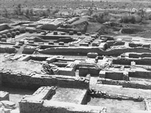 View from East to West of the Citadel of Mohenjo Daro with the baths and the granary in the background