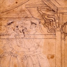 The meeting of Shah Jahan and Jahangir attended by nobles at court in Lahore, 1620