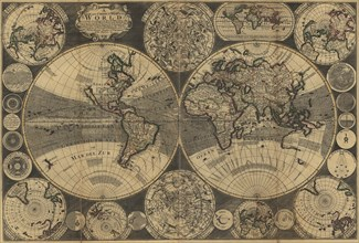 World Map with Planets 1702