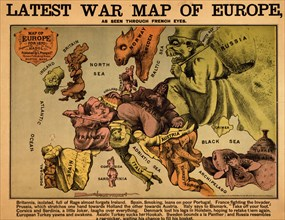 Anthropomorphic Map of Europe - 1870 - Political 1870