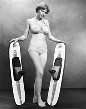 Sexy Woman Advertises Skis