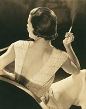 A Glamourous Woman Smoking
