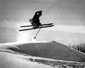 A Soaring Skier In Profile