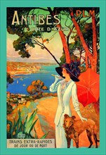 Antibes (PLM), Lady in White with Parasol & Dog 1900