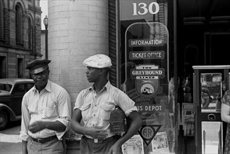 African American at Bus station, Marion, Ohio 1935