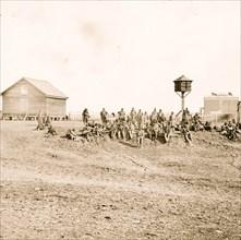 Aiken's Landing, Va. African-American soldiers resting near the Aiken house, view looking toward the house 1863
