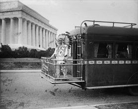 Chief Two Moon on the Back of a Bus Near the Lincoln Memorial 1925