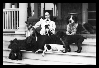 Mrs. Patten and Her Seven Dogs 1900