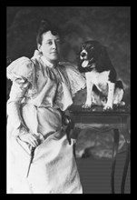 Springer Spaniel and Woman 1900