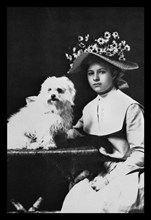 Woman in Bonnet with Maltese Terrier 1900