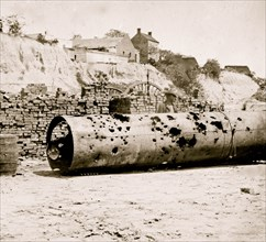 Richmond, Virginia. Smoke stack of C.S. Ram VIRGINIA No. 2. Holes made by Federal batteries 1865