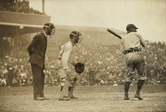 Roger Bresnahan, catching for the New York Giants -Pirates at bat 1908