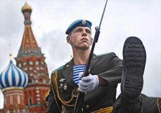 Blue Berets' Perform In Red Square On The Day Of Airborne Troops