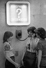Girls Stand Near A Telephone Set In Moscow Metro