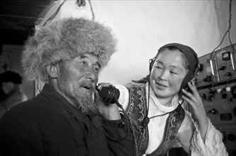 Kyrgyz People In The Mobile Telephone Station