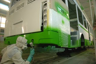 LIAZ-5256 Bus Body Painted In The Paint Shop At The Likino Bus Plant