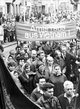 Gdr, senftenberg citizens protest against u,s, bombing of vietnam, 1966.