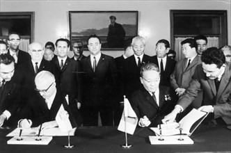 Treaty on friendship and co-operation signed between g,d,r, and mongolian people's republic by willi stoph (left) and tsedenbal sep, 12 1968.