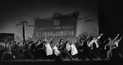 A scene from 'the january storm', a full-length song and dance drama jointly staged by the revolutionary artists of the shanghai experimental opera theater and worker amateur performers, it was the fi...