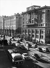 Gorky street in moscow, ussr, october 1955.