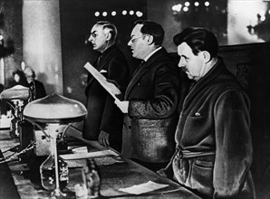 State prosecutor, andrei vyshinsky reading the charges at a purge trial in the late 1930's.