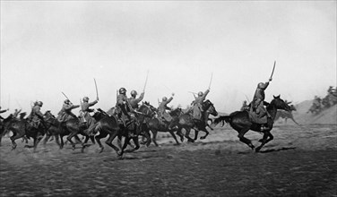 World war 2, a cossack cavalry unit charge, driving the enemy westward, april 1942.