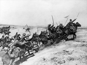 Soviet red army cavalry charge during world war 2.