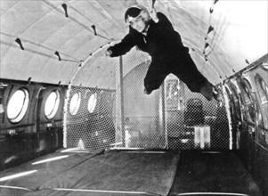 A soviet cosmonaut undergoing training for weightlessness, 1960s.