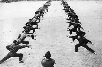 Red army cavalry soldiers undergoing rapier practice, world war ll.