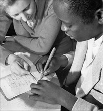 The peoples' friendship university in moscow, founded in 1960 and renamed the patrice lumumba university in 1961, a teacher with an african student, 1960s.