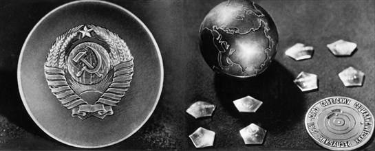 The small titanium globe containing a medallion which was delivered to the surface of planet venus by the soviet space probe venera 1 in 1961.