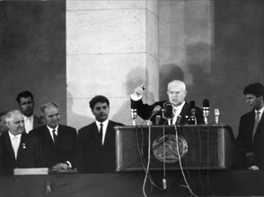 Nikita s, khrushchev first secretary of the central committe of the cpsu (communist party of soviet union) speaking at a rally in sofia, bulgaria in may 1962.