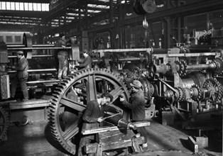 Assembly line of machine tool plant (factory) 'ivo lola ribar' at zeljeznik, near belgrade, serbia, yugoslavia, mid 1960s.