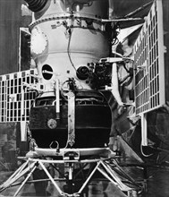 Soviet space probe, venera 4 (venus 4), with landing package attached, the probe soft landed on venus on october 18th, 1967.