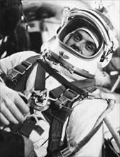 Soviet cosmonaut vladimir komarov preparing for his flight as part of the soyuz 1 mission, 1967.