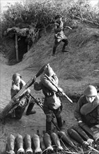 The don valley, a soviet trench mortar crew on the firing line, this crew destroyed 6 enemy trucks, 3 machine-guns, 10 supply carts, an ammunition dump, 3 trench mortar batteries, 3 guns, and annihila...
