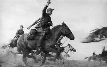 A red army cavalry charge, september 1941, world war ll.